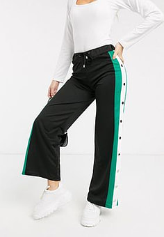 Brave Soul wide leg joggers with popper seams in black