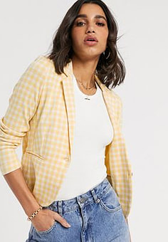 b.Young gingham tailored blazer-Multi