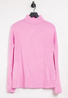 b.Young high neck knit top-Pink
