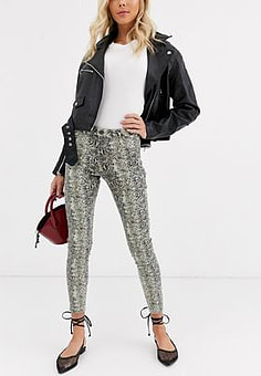 b.Young snake print jeans-Multi