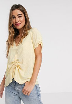 b.Young spotty jacquard top with waist tie-Yellow