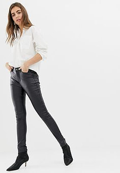 b.Young super shiney coated jeans-Black