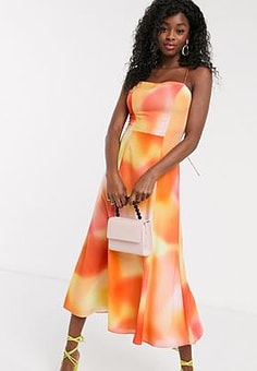 C/meo Collective tie dye midi slip dress in vermillion-Orange