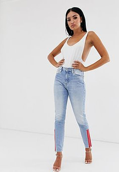 Calvin Klein 020 high rise slim jeans with red zip side-Blue