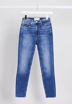Calvin Klein high rise skinny jeans in mid blue