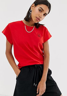 Cheap Monday Screen t-shirt with tiny skull logo-Red