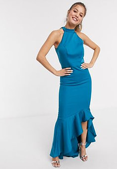 Chi Chi London Chi Chi Afton high neck fitted maxi dress with frill hem in teal-Green