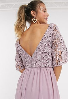 Chi Chi London Chi Chi Cally lace detail midi skater dress in mink-Pink