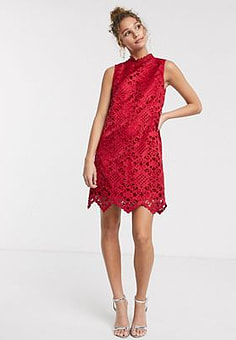 Chi Chi London cutout high neck mini shift dress in red