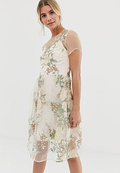 Chi Chi London embroidered midi dress with sheer overlay in pink-Multi