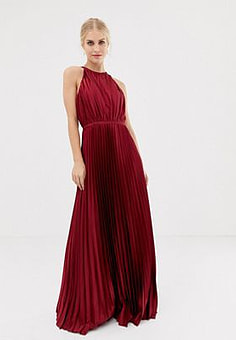 Chi Chi London high neck satin maxi dress in oxblood-Red