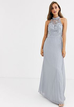 Chi Chi London lace detail maxi dress with pleated skirt in grey