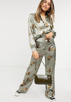 Chi Chi London tiger print wide leg trouser co-ord in brown