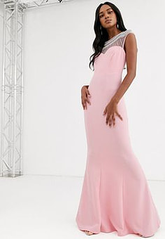 City Goddess embellished fishtail maxi dress-Pink