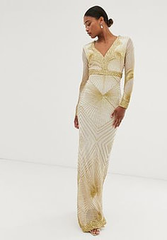 City Goddess long sleeve all over embellished patterned maxi dress-Gold