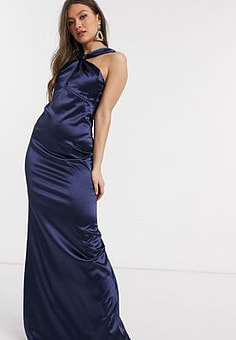 City Goddess satin cowl neck maxi dress-Navy