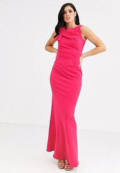 City Goddess side shoulder bow maxi dress-Pink