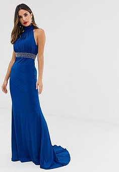 City Goddess slinky halterneck maxi dress with embellished waistband-Blue