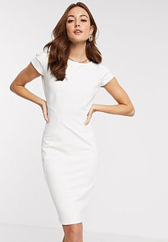 Closet  jersey pencil dress with cap sleeve in cream-White