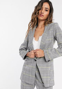 Closet boxy tailored jacket in light check-Grey