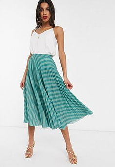 Closet pleated skirt in teal stripe-Blue