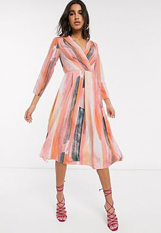 Closet wrap midi dress in stripe print-Multi