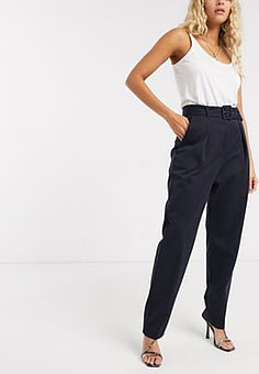 Closet  pleated trousers-Navy