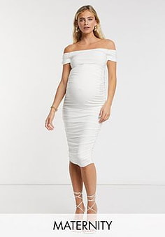 Club L  London Maternity slinky off shoulder ruched midaxi dress in white