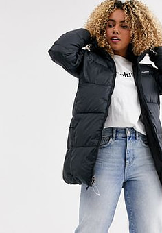 Columbia Puffect mid hooded jacket in black
