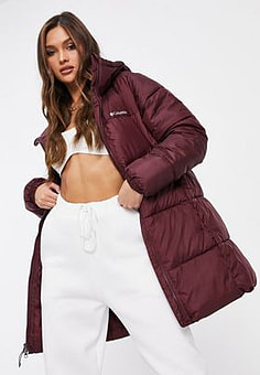 Columbia Puffect Mid jacket in burgundy-Red