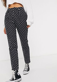 Daisy Street cigarette trousers in polka dot-Black