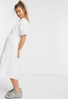 Daisy Street midaxi smock dress with tiered skirt and puff sleeves in cotton-White
