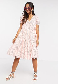 Daisy Street midi wrap dress with tiered skirt in pretty floral-Pink