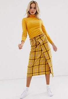 Daisy Street midi wrap skirt in check-Yellow