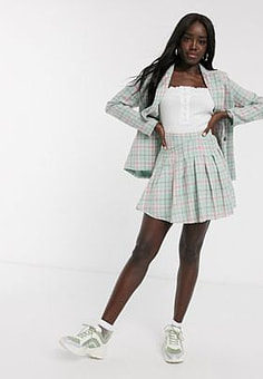 Daisy Street mini pleated skirt in vintage check co-ord-Green