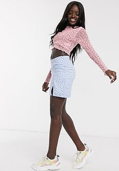 Daisy Street mini skirt in ditsy floral-Blue