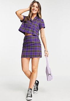Daisy Street mini skirt in vintage check co-ord-Purple