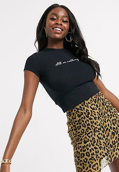 Daisy Street mini skirt with crinkle hem in leopard print mesh-Brown