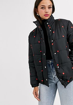 Daisy Street padded jacket in ditsy heart print-Black