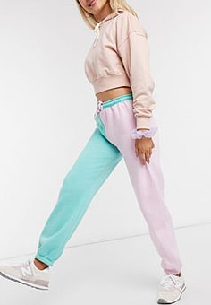 Daisy Street relaxed colour block joggers with vintage new york print co-ord-Pink