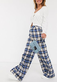 Daisy Street relaxed high waist trousers in vintage check-Blue
