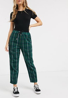 Daisy Street relaxed straight leg trousers with drawstring waist in check-Green