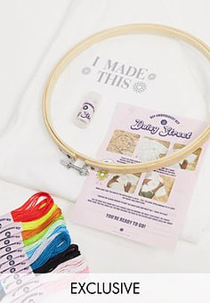 Daisy Street relaxed t-shirt with I made this DIY embroidery kit-White