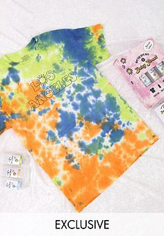 Daisy Street relaxed t-shirt with los angeles print DIY tie dye kit-Multi