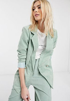 Daisy Street relaxed tailored blazer in cord co-ord-Green