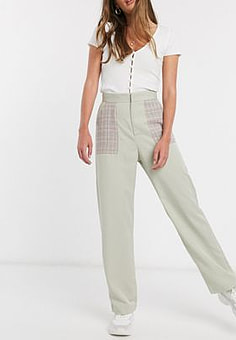 Daisy Street relaxed trousers with contrast check pockets-Green