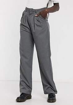 Daisy Street relaxed wide leg trousers with pleat front co-ord-Grey