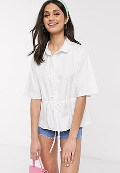 Daisy Street shirt with waist tie in cotton-White