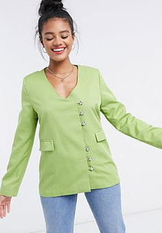 Daisy Street vintage blazer with detailed buttons co-ord-Green