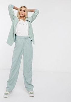 Daisy Street wide leg tailored trousers in cord co-ord-Green